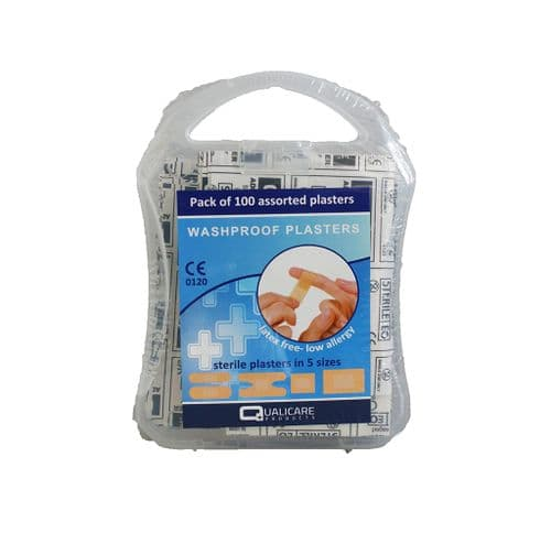 Washproof Assorted Plasters in Plastic Box 100