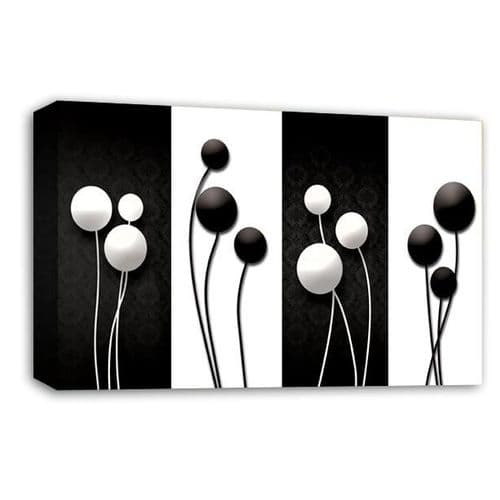 Floral Abstract Wall Art Picture Black White Grey Flower Print