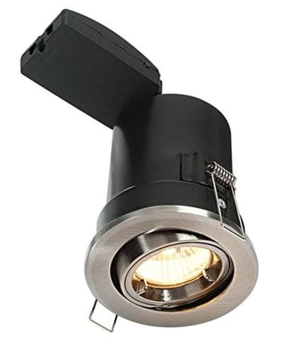 Adjustable Fire Rated LED Downlight in a Satin Nickel Finish