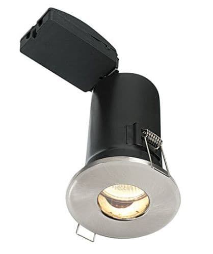 Fixed Fire Rated LED Downlight in a Satin Nickel Finish