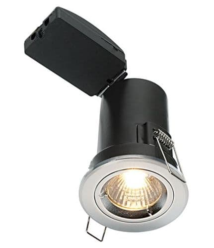 Fixed Fire Rated LED Downlight with a Satin Nickel Finish