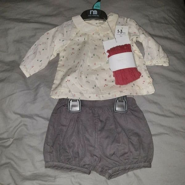 Baby Girls Scandi Forest Print Set - Top Shorts And Tights 1-3mths 14.5lbs