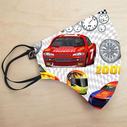 Cars Print Washable Cotton Face Covering Face Mask