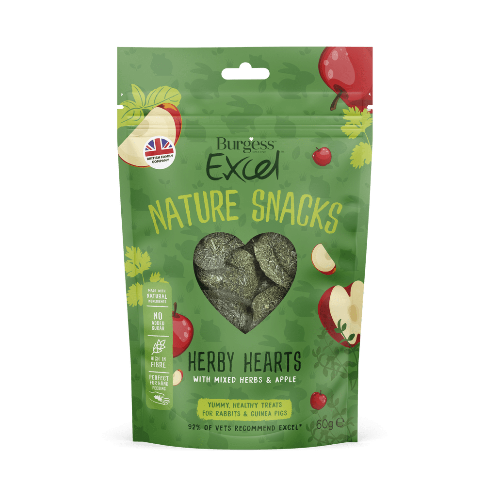 Burgess Excel-  Nature Snacks  - Herby Hearts -  60g