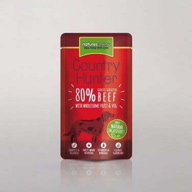 Natures Menu - Country Hunter - Adult Dog - Beef Pouches -  6 x 150gm