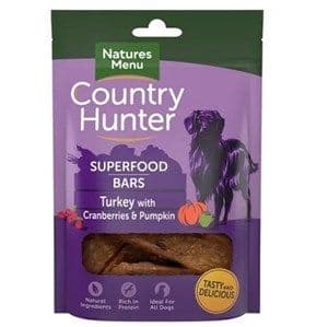 Natures Menu  - Country Hunter  - Superfood Bar Turkey  - Dog Treats 100g