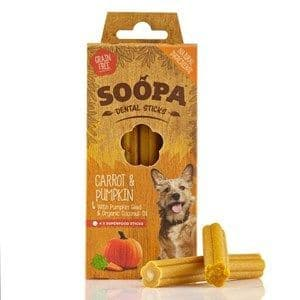 Soopa -  Dental Sticks  - Carrot & Pumpkin  - x 4 Sticks