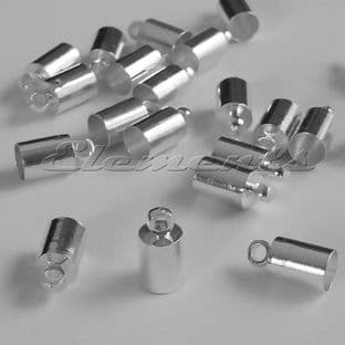 4mm Silver Or Gold Plated Cord Barrel End Caps