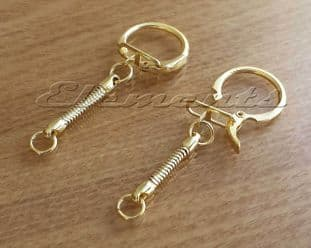 Gold Plated Key Rings With Locking Clasp & Snake Chain  BM162
