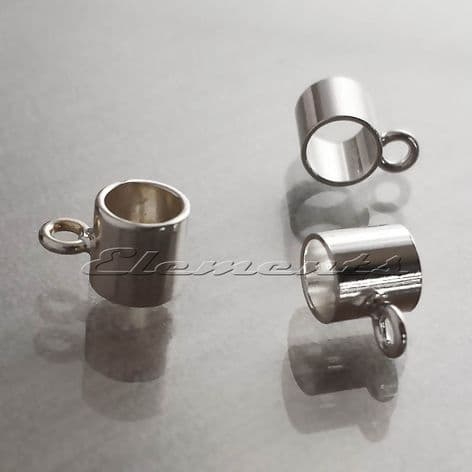 Sterling Silver Charm Carrier Tube Bead Bail