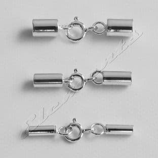 Sterling Silver End Caps With Integral Bolt Ring Clasp