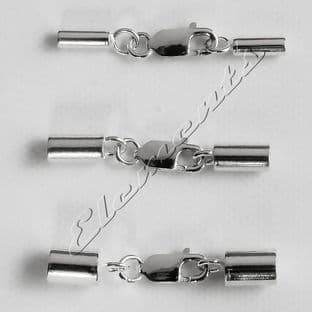Sterling Silver End Caps With Integral Lobster Clasp