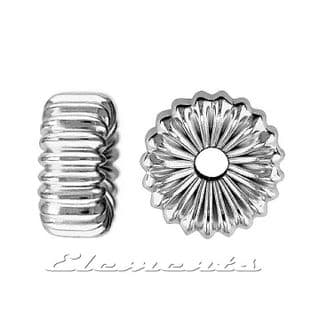 Sterling Silver Flat Corrugated  Spacer Beads With 2 Hole