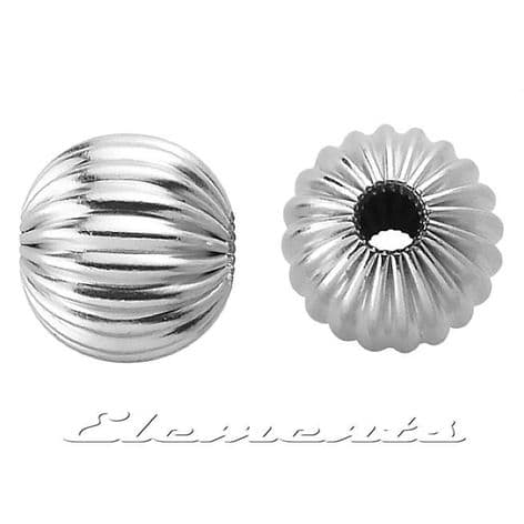 Sterling Silver Round Corrugated Spacer Beads With 2 Holes