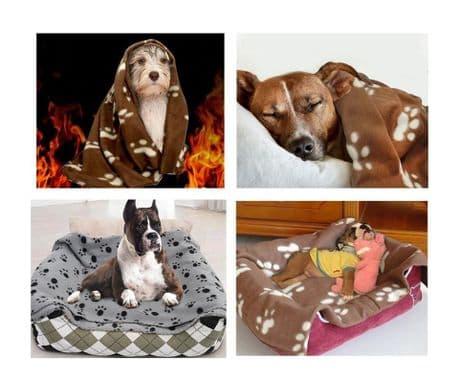 Brown or grey fleece pet blanket. Sizes L & XL