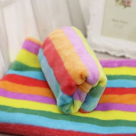 Soft & colourful rainbow fleece pet blanket.  Sizes S,  M & L