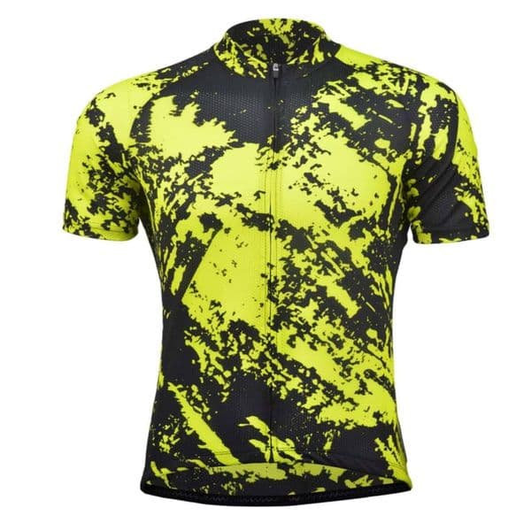 Men's Fluorescent Yellow Short-Sleeve Cycling Jersey