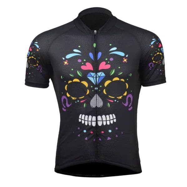 Men's  Sugar Skull Print Short-Sleeve Cycling Jersey
