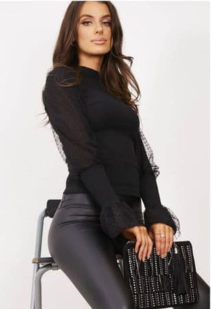Black Ribbed Flounce Sleeve Top