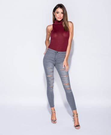 Grey  Multi Rip High Waisted Jeggings