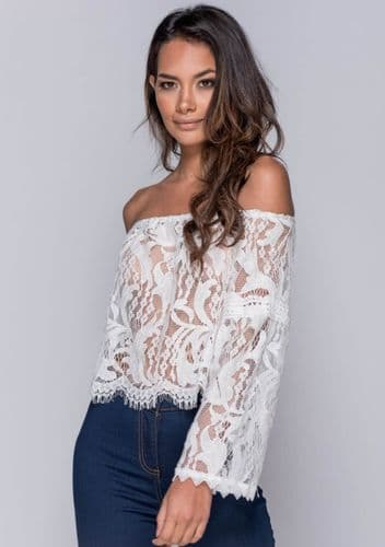 Lace Flare Sleeve Bardot Top