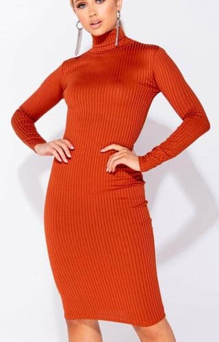 Rust Rib Knit Turtle Neck Long Sleeve Bodycon Midi Dress