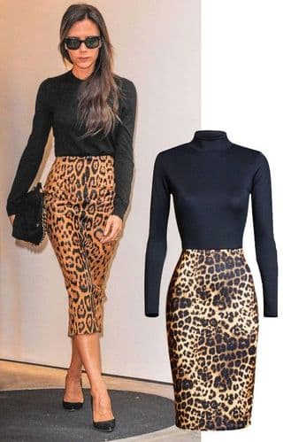 Victoria Beckham Celebrity Inspired Animal Print Dress