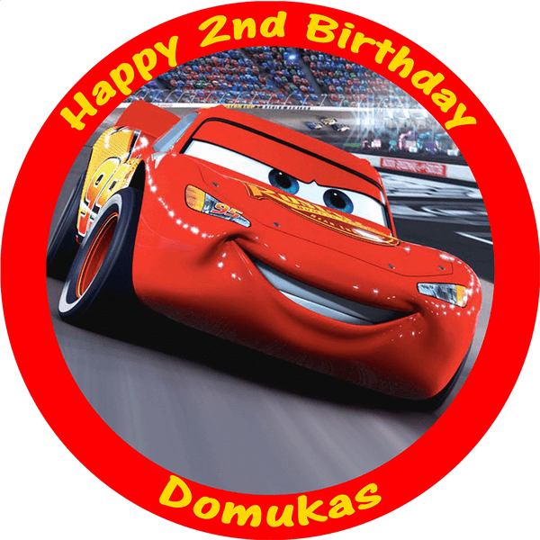 CARS LIGHTNING MCQUEEN EDIBLE PERSONALISED ROUND BIRTHDAY CAKE TOPPER