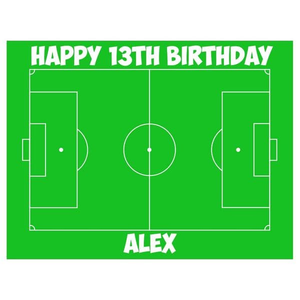 FOOTBALL PITCH PERSONALISED BIRTHDAY CAKE TOPPER