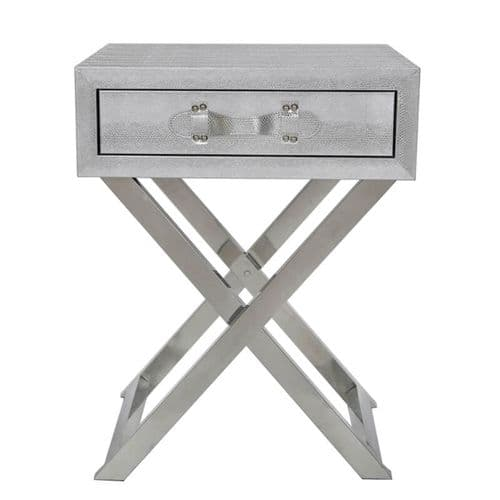 1 Drawer Faux Leather Snake End Table With Belt Handle Silver