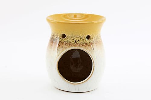 10Cm Abstract Mustard Two Tone Oil Burner