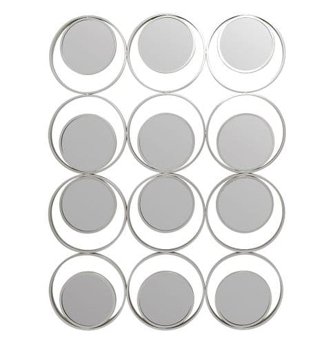 12 Circles Wall Mirror In Silver