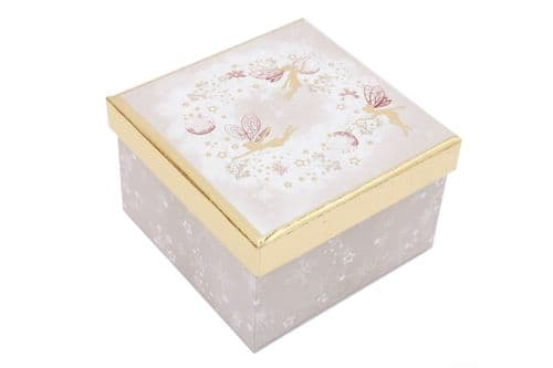 14X14Cm Fairy Gift Box Gold & Pink