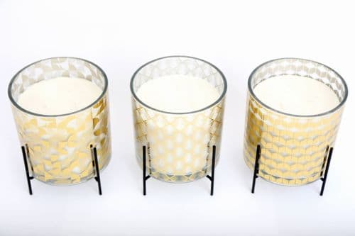 15Cm Gold Decal Candle Pot On Stand