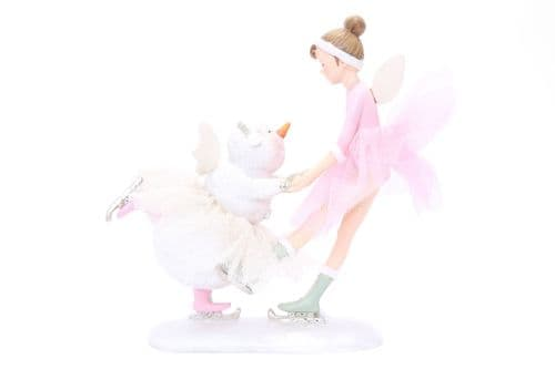 19.5Cm Skating Pink Fairy With Snowman Decoration