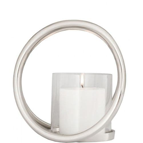 20cm Double Ring Pillar Candle Holder With Glass Cup Nickel