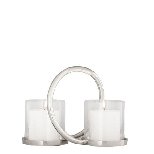20cm Ring Two Pillar Candle  Holder With Glass Cups Nickel