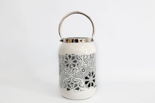 22Cm Flower Design Cut White Lantern Silver Handle