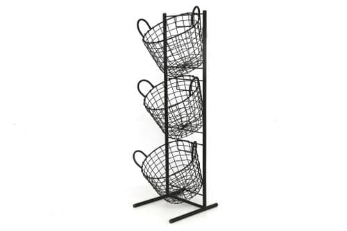 3 Tier Removable Storage Basket Black