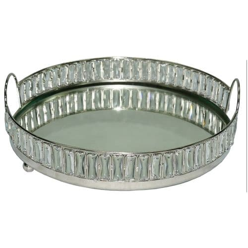 30.5cm Round Crystal And Mirror Tray Nickel