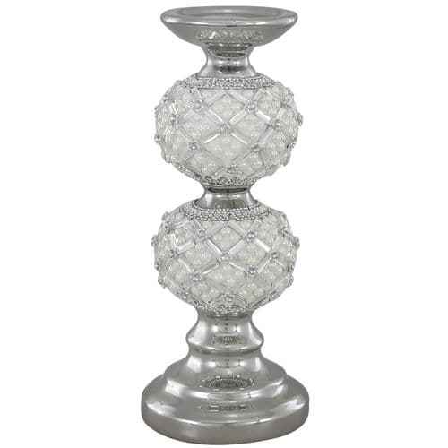30cm Candle Holder With Pearl Detail Ivory