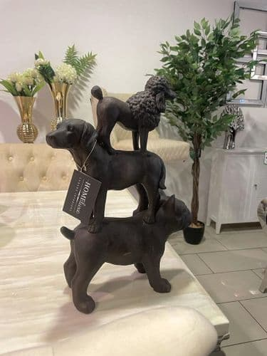 31Cm Stack Of 3 Dogs Statue