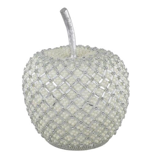 32cm Apple Decoration With Pearl Detail Ivory