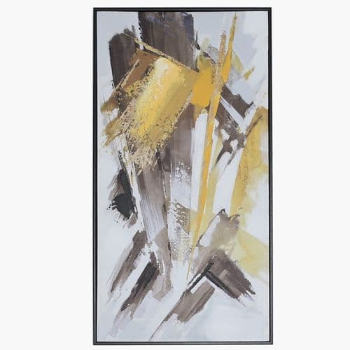 41.5x81.5 Framed Abstract Canvas Mustard Yellow Black