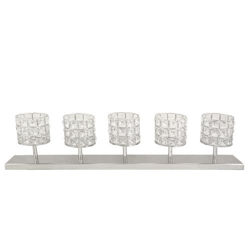 5 Crystal Stone & Nickel Candle Holder