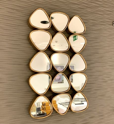 53X85cm 15 Section Pebble Mirror Gold