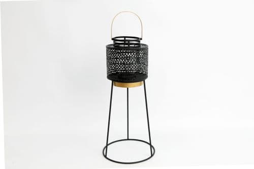 59Cm Metal Lantern With Black Tripod