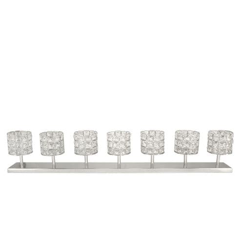 7 Crystal Stone & Nickel Candle Holder