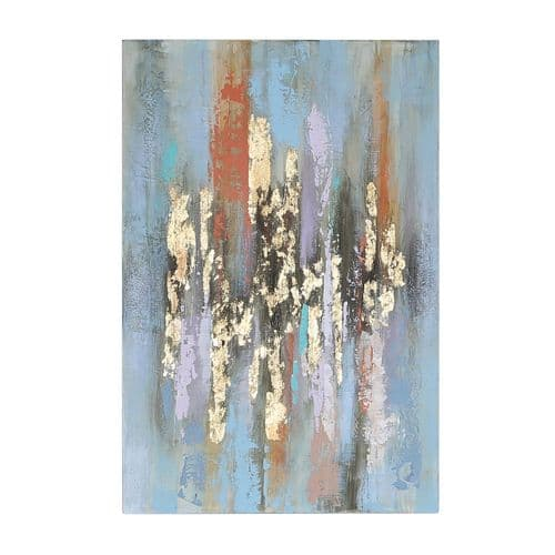80x120 Abstract Canvas Gold Blue Multi