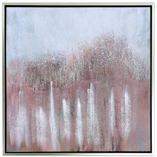 95x95 Framed Abstract Canvas Pink Silver